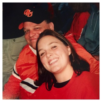 Jennifer Mullinax and her dad at Oklahoma State game.